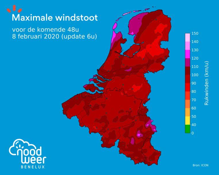 Vooral het noordwesten van Nederland moet opletten voor zeer forse windstoten. Ook elders in de Benelux kunnen de windstoten pieken tot 100, lokaal 110 kilometer per uur.