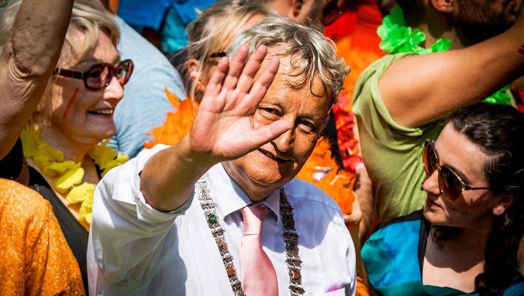 Burgemeester Eberhard van der Laan tijdens de Gay Pride 2016. Beeld anp