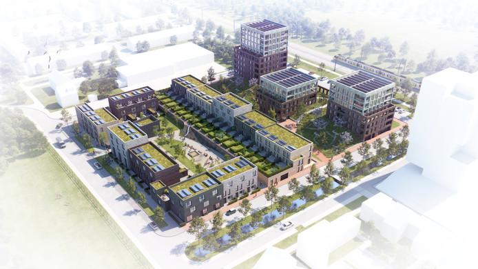 Projectontwikkelaar Synchroon heeft plannen voor nieuwbouwproject Witt met 110 woningen op de plek van voormalig tuincentrum Pels aan de Johan de Wittlaan in Woerden.