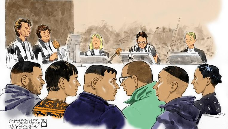 Rechtbanktekening van verdachten Beeld anp