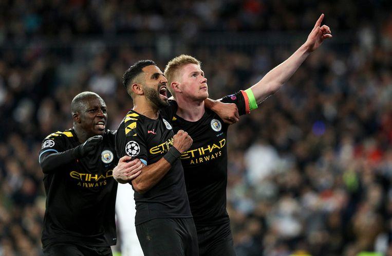 De Bruyne viert zijn doelpunt tegen Real Madrid met Mahrez en Mendy.