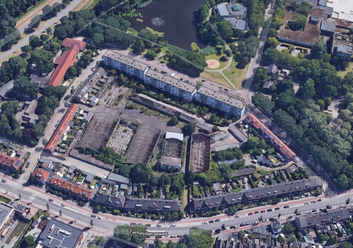 De driehoek Terheijdenseweg-Minckelersstraat-Lachapellestraat, met in het midden het terrein van de voormalige houthandel Cantrijn.