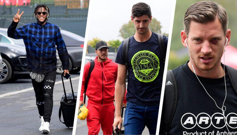 Michy Batshuayi, Eden Hazard, Thibaut Courtois en Jan Vertonghen.