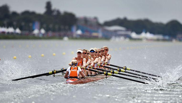 De vrouwen Holland Acht in actie op de Olympische Spelen van 2012. Beeld anp
