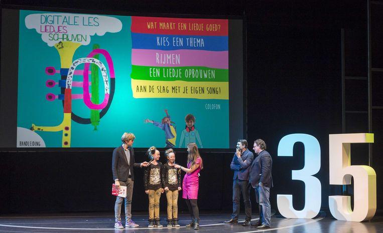 Lex Uiting bij de viering van 35 jaar Kinderen voor Kinderen (januari 2014). Beeld anp