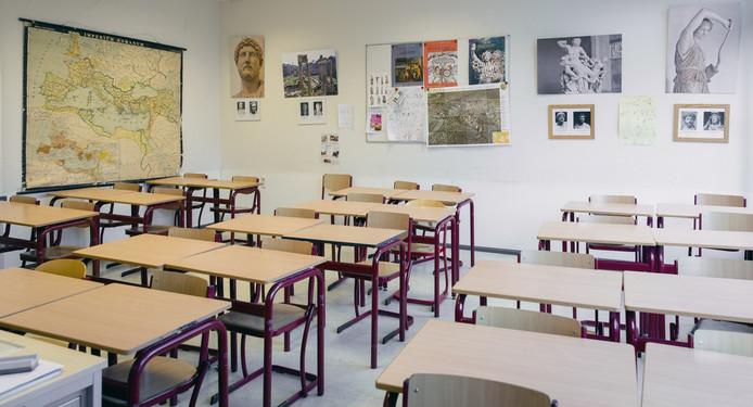 Een klaslokaal van het christelijk gymnasium Sorghvliet, de school van prinses Amalia.