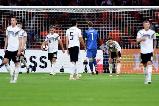 Ontreddering bij de Duitse spelers.