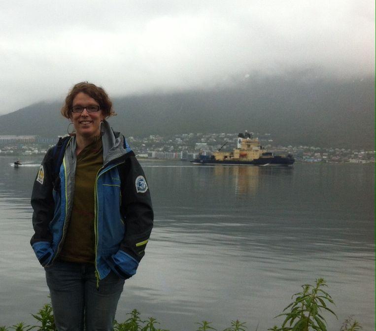 Jorien Vonk in Tromsø, vlak voor vertrek. Beeld .