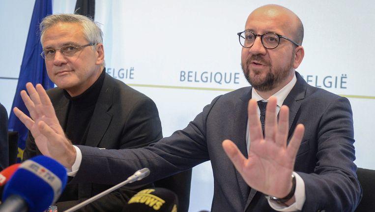 Belgische premier Charles Michel tijdens een persconferentie Beeld anp