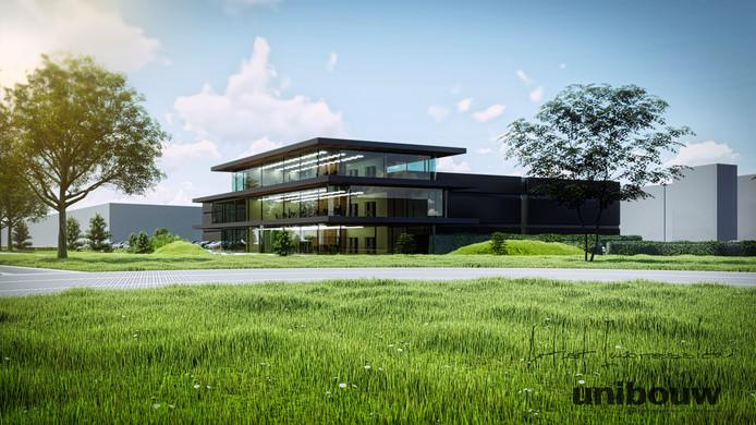 Een impressie van het nieuwe kantoor van de Van Dijk Groep in Gemert, met daarachter de productiehal voor De La Roy Isolatie & Design.