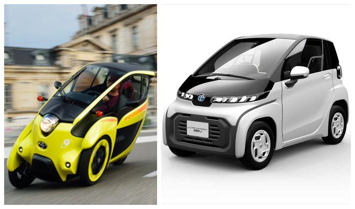 De Toyota i-Road (links) en de Ultra Compact BEV, die dit najaar in Japan op de markt moet komen
