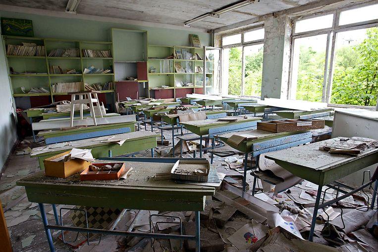 Een klaslokaal in de spookstad Pripjat. Beeld afp