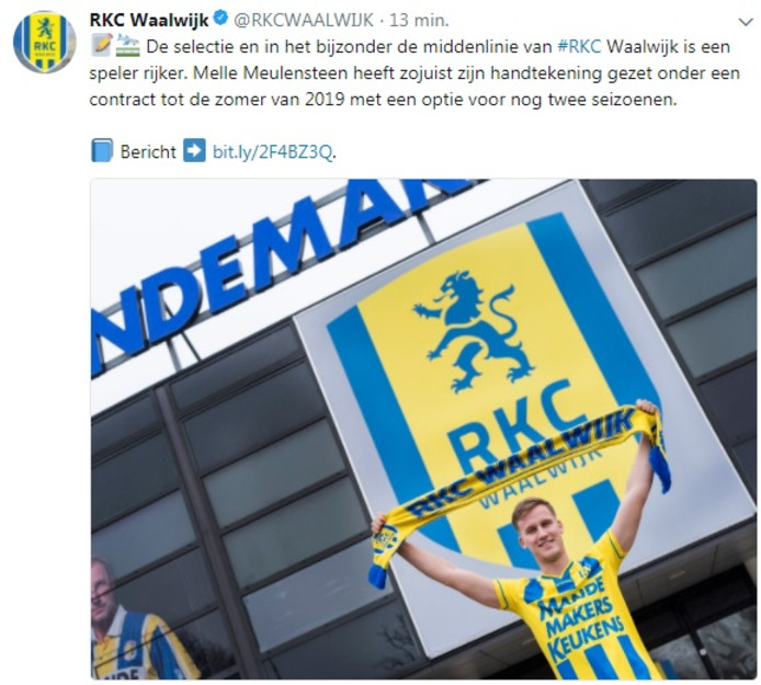 RKC Waalwijk kondigt nieuwe speler Melle Meulensteen aan op Twitter