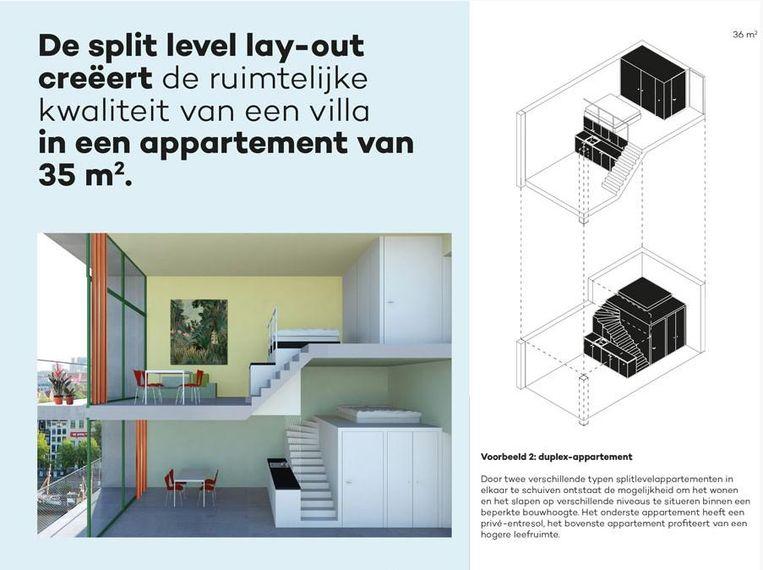 Een ontwerp van twee split-level appartementen van elk 35m2. Beeld