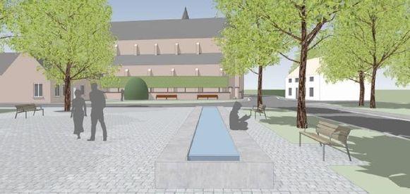 Een deel van het nieuwe dorpsplein krijgt een waterpartij, bomen en gezellige bankjes.