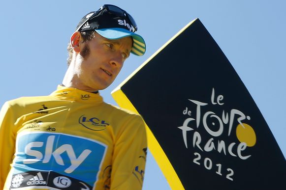 Bradley Wiggins bij zijn eindzege in de Tour 2012.