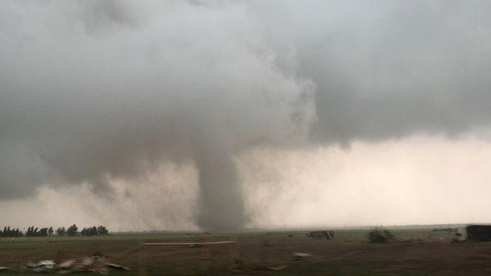 Een eerdere tornado in Magnum, Oklahoma.