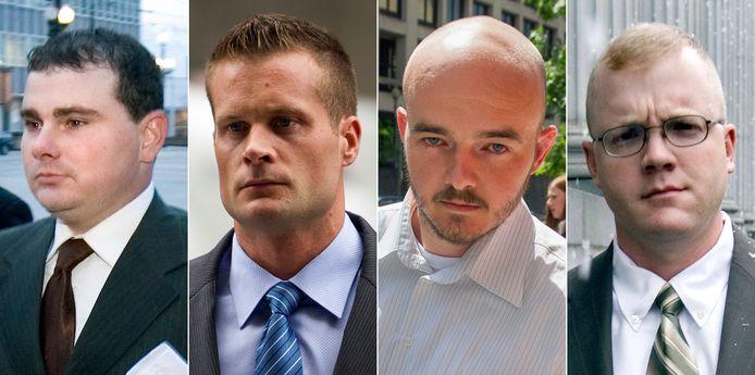 De vier huurlingen in dienst van het paramilitaire beveiligingsbedrijf Blackwater die Trump gratie gaf: Dustin Heard, Evan Liberty, Nicholas Slatten en Paul Slough.