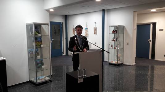 Waarnemend burgemeester van Kapelle Huub Hieltjes tijdens zijn tweede nieuwjaarstoespraak.