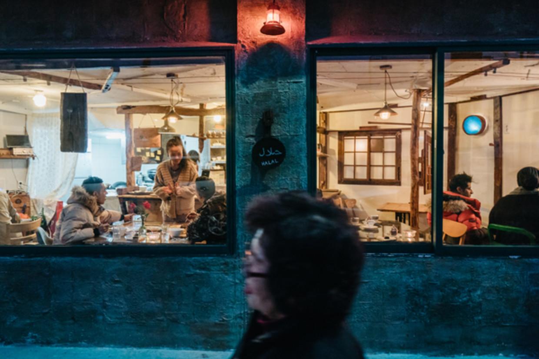 Jemenitisch restaurant Wardah in Jeju, Zuid-Korea.