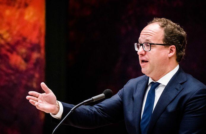 Minister Wouter Koolmees van Sociale Zaken en Werkgelegenheid tijdens het debat in de Tweede Kamer over de uitwerking van het pensioenakkoord.