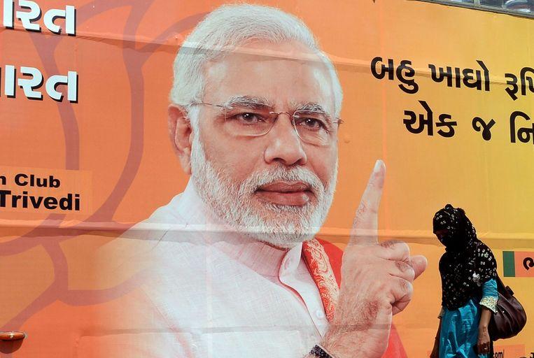 Nadrenda Modi heeft een spectaculaire verkiezingscampagne gevoerd, met veel oog voor sociale media. Beeld anp