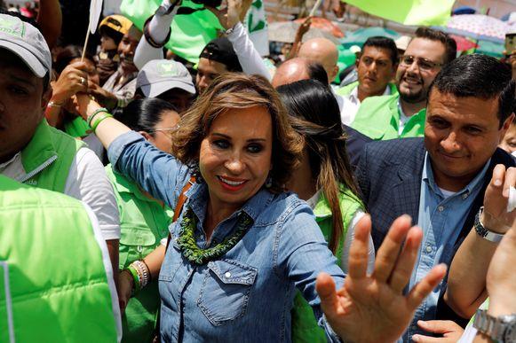 De Guatemalteekse presidentskandidate Sandra Torres, van wie verwacht wordt dat ze de tweede ronde haalt.