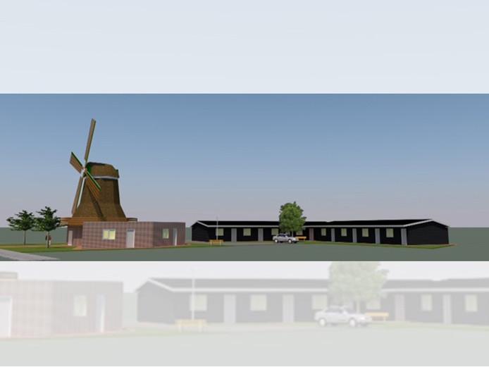 Impressie van het plan de Hofmolen aan de Smitstraat in Den Ham: een combinatie van een molen en veertien appartementen.