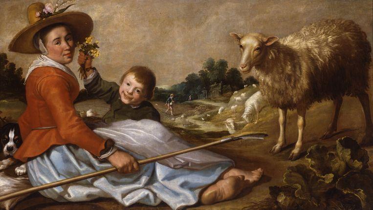 Herderin met kind in een landschap Beeld Dordrechts Museum