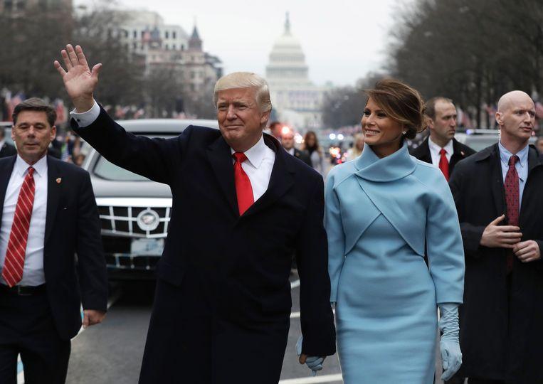 Donald en Melania Trump na de inauguratie in 2017.