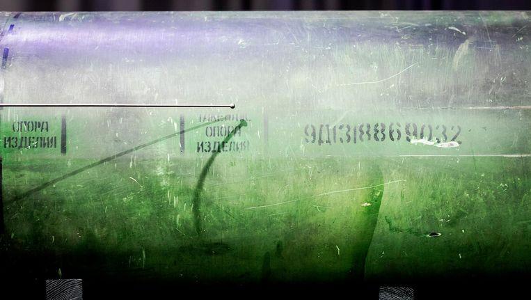 Serienummers op een onderdeel van de BUK raket die MH-17 neerhaalde. Beeld anp