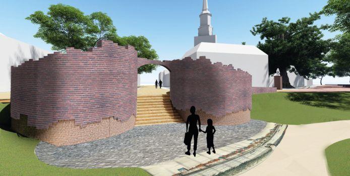 ,,De gevisualiseerde droom als vertrekpunt voor de plannen'', burgemeester Eddy Bilder de artist impression van de herbouwen Veerpoort.