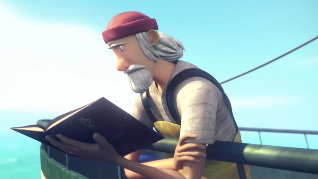 De oude zeeman in het computerspel.