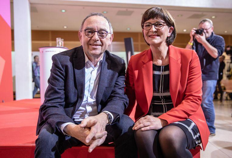Norbert Walter-Borjans and Saskia Esken. Beeld EPA