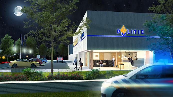 Zo komt het nieuwe politiebureau aan de Hockeyweg in Uden er ongeveer uit te zien. Met opvallende blauwe lichtlijn.