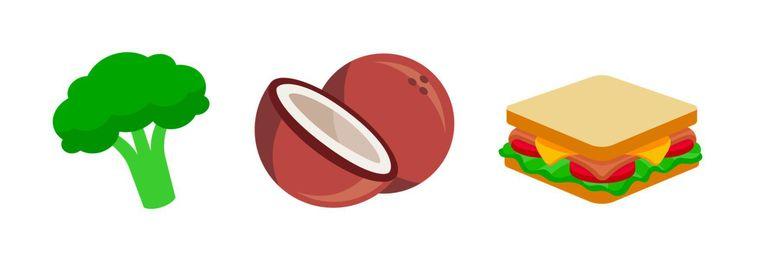 Slee, broccoli, kokosnoot en sandwich zijn in de race om een emoji te worden. Beeld null