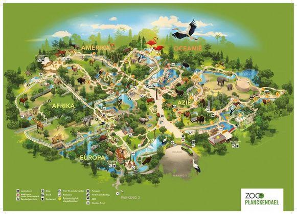 Parkplan Planckendael. Het nieuwe complex komt op de kaart rechts van de leeuwen. Daardoor komt ruimte vrij in het Neerhof (ongeveer onder de bonobo's)