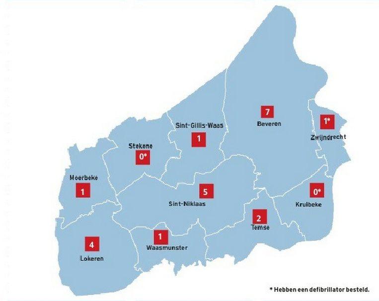 Een overzicht van het aantal defibrillatoren per gemeente of stad.