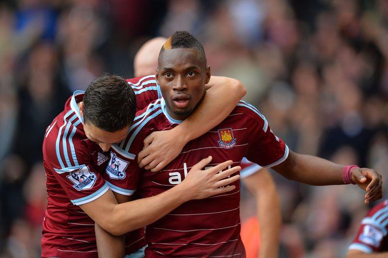Diafra Sakho na een van zijn -zeldzame- goals voor West Ham.