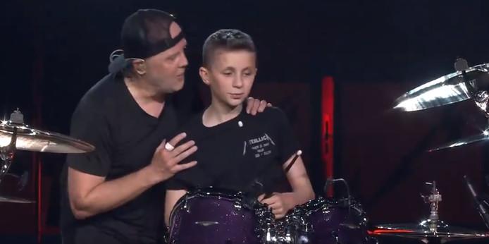 Evan en zijn grote held Lars Ulrich