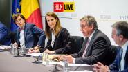 """LIVE. Wilmès optimistisch op persconferentie Veiligheidsraad: """"Situatie beter dan verwacht"""" - Cafés en restaurants mogen openblijven tot 1 uur 's nachts - Maximaal 10 personen per gezelschap"""