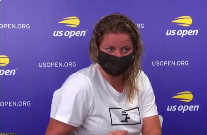 Kim Clijsters op een video-persconferentie in aanloop naar de US Open.
