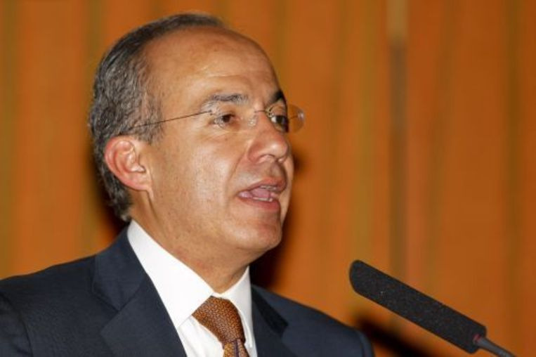 President Felipe Calderón voert sinds 2006 oorlog tegen de drugsbendes in Mexico. EPA/ANP Photo. Beeld
