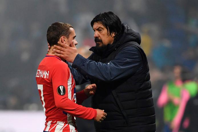 German Burgos bedankt Antoine Griezmann voor zijn goals.