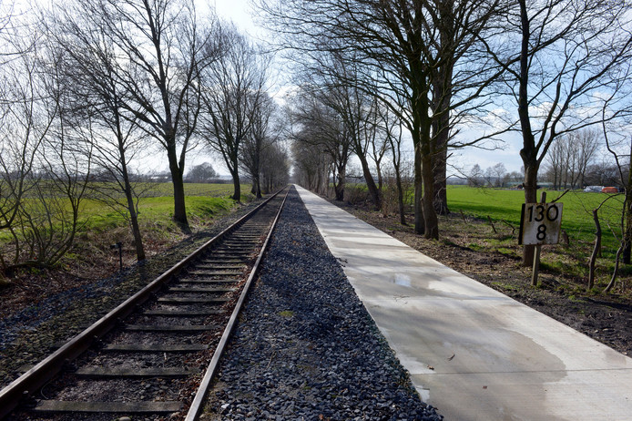 De spoorlijn van Nijmegen naar Kleef bij Groesbeek. Vooralsnog rijden hier geen treinen.  Archieffoto Do Visser