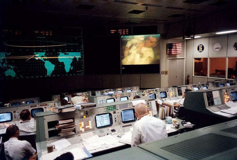 De controlekamer van de Nasa tijdens de Apollo-13-missie. Beeld Getty Images