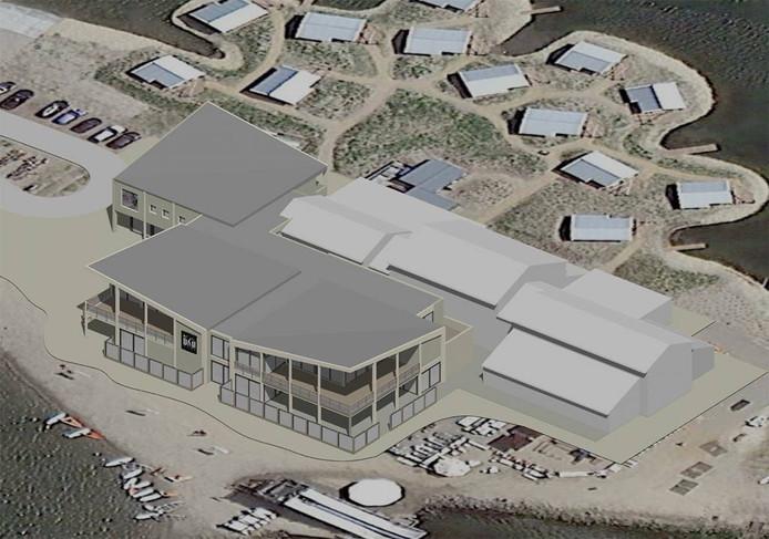 Impressie van het nieuwe surfcentrum op de Brouwersdam, dat wordt gebouwd door Zeelenberg Architectuur.