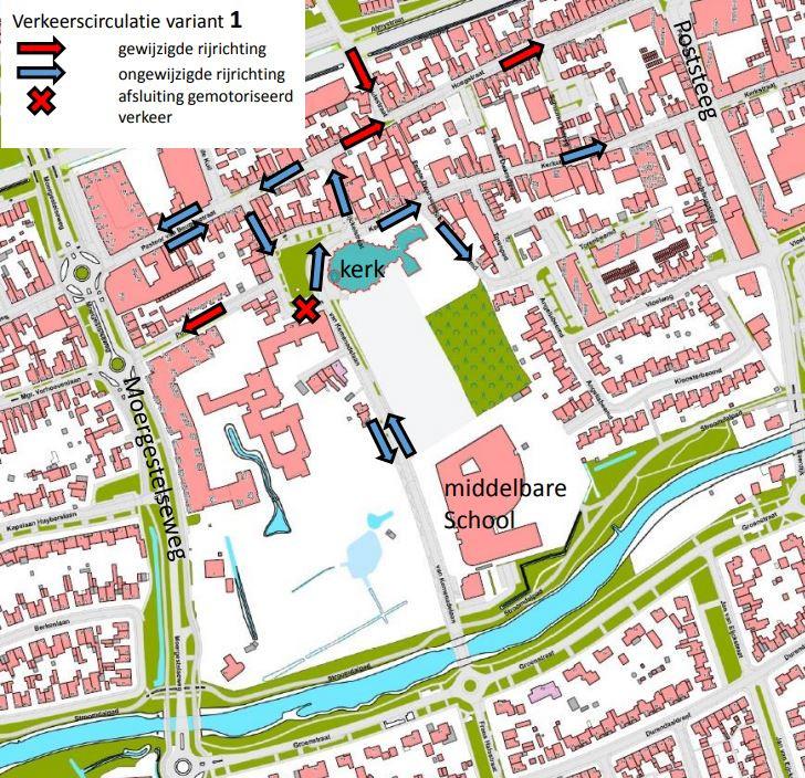 Wijziging rijrichtingen Kerkplein (variant 1)