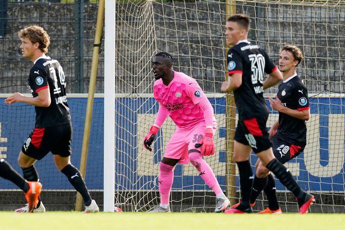 De PSV'ers Sam Lammers, Yvon Mvogo, Ryan Thomas en Olivier Boscagli in actie tijdens het oefenduel met Hertha BSC van afgelopen zaterdag.