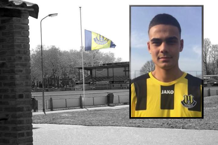 Bij voetbalclub Columbia in Apeldoorn hangt de vlag halfstok. Inzet: Oud-TKA-speler Ömer Dogan in het shirt van Columbia. Ömer was een van de vier mannen die omkwamen bij het tragische ongeval op de A1 bij Deventer.